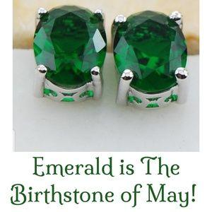 🆕💚NWT .925 Silver Emerald Stud Pierced Earrings
